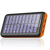 Solar Charger 24000mAh Portable Charger,PLOCHY Solar Power Bank Phone charger with 3 Fast Charging USB Port and Dual Input External Battery Pack for All Smartphone Tablet