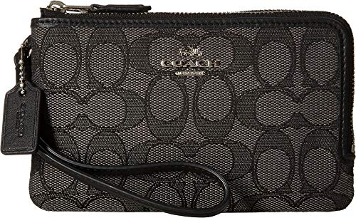 Coach Wristlet - COACH Women's Signature Double Corner Zip Bag Silver/Black Smoke/Black Coin or Card Case