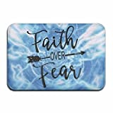 Fuucc-6 Inside & Outside Door Mats Faith Over Fear Design Pattern For Hallway Bathroom
