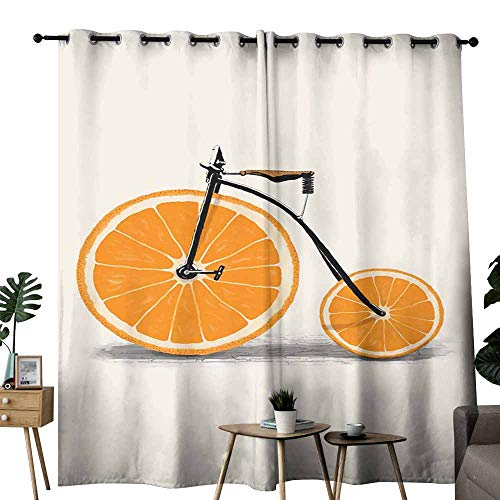 duommhome Curtain for Kids Fruit Hand Painted Art Set of Two Panels W120 x L96