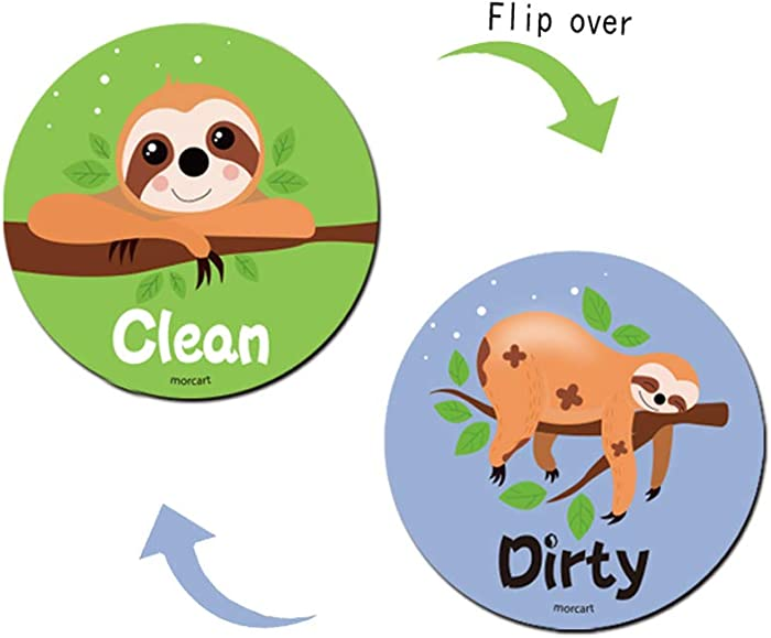 Earcase Dishwasher Magnet Clean Dirty Sign, Non-Scratch Strongest Magnet Double Sided Flip Kitchen Dish Washer Magnet with Bonus Metal Magnetic Plate, Easy to Read&Slide for Changing Signs (B-Sloth)