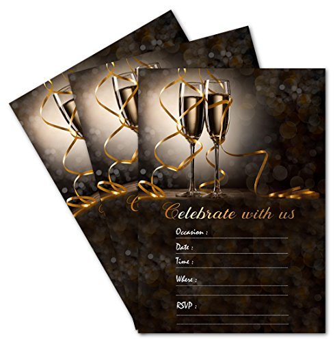 (25 Celebrate With Us Champagne Double-sided 5x7 Party Invitations Kit with Gold Metallic Pen and Envelopes)