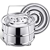 Stackable Steamer Insert Pans for Instant Pot Accessories 6/8 qt - SECITE Stainless Steel Food Steamer for Pressure Cooker,Baking, Reheating - Two Interchangeable Lids Included