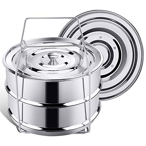 (Secite Stackable Insert Pans Compatible with Instant Pot Accessories 6/8 qt, Stainless Steel Food Steamer for Pressure Cooker,Baking, Reheating - Two Interchangeable Lids Included)