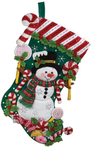 Bucilla 18-Inch Christmas Stocking Felt Applique Kit, 86299 Snowman