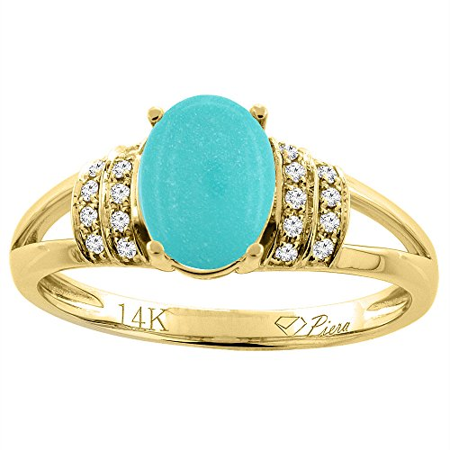 14K Yellow Gold Natural Turquoise Ring Oval 8x6 mm Diamond Accents, size 7 14k Yellow Gold Turquoise Ring