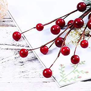 ULTNICE 10pcs Small Artificial Pine Picks Stimulation Berry Pine Needles Red Berry Flower Ornaments for Christmas Flower Arrangements Wreaths Holiday Decorations 3