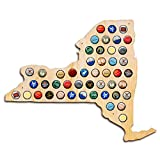 New York Beer Cap Map - Holds Craft Beer Bottle Caps - Prefect guy gift - men fathers day - NY beer (Natural)