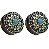 """Turquoise Antique Gold Plated Tribal Sun Organic Ebony Wood Double Flared Saddle Plugs - Sold as a Pair - Available in Sizes from 0G (8mm) to 1"""" (25mm) (8mm (0G))"""