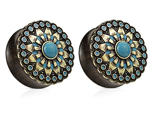 Turquoise Antique Gold Plated Tribal Sun Organic Ebony Wood Double Flared Saddle Plugs - Sold as a Pair - Available in Sizes from 0G (8mm) to 1