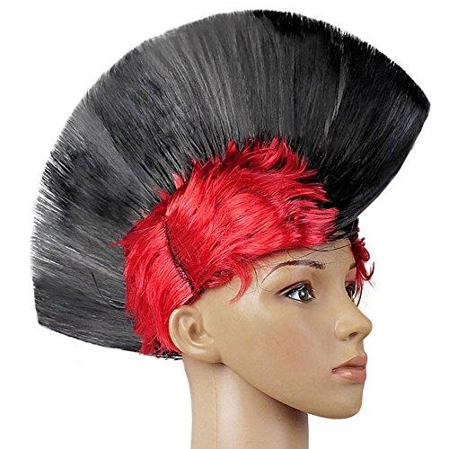 elegantstunning Punk Mohawk Mohican Cockscomb Wig Headdress Halloween Masquerade -