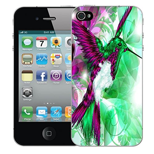 Mobile Case Mate iPhone 4s clip on Dur Coque couverture case cover Pare-chocs - humingbird vert Motif avec Stylet