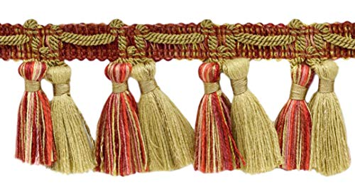 (DÉCOPRO 5 Yard Value Pack of Veranda Collection 2.5 Inch Tassel Fringe Trim|Beachwood Gold, Red, Paprika|Style# TFV025|Color: Grandeur Flame - VNT33 (4.5M / 15 Ft))
