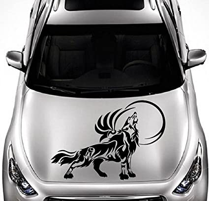 Perfect Vehicle Auto Car Décor Vinyl Decal Art Sticker Howling Wolf Moon Tribal  Wild Animal Removable Design