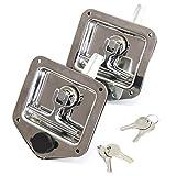 2 Stainless Door Lock Trailer Toolbox RV T Tee Handle Latch 4-3/4'' x 4-7/8'' Keys