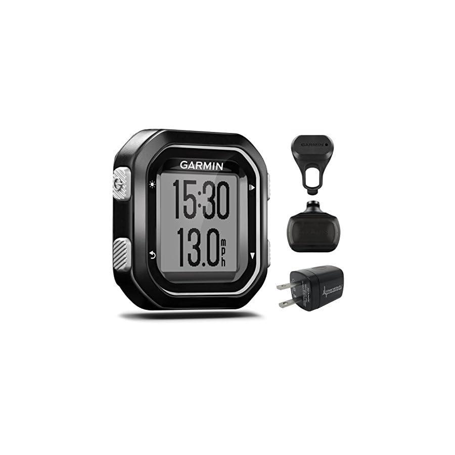 Garmin Edge 25 GPS Cycling Computer 010 03709 20 and Garmin Speed Sensor 010 12103 00 with extra Wearable4U Wall Charging Adapter Bundle
