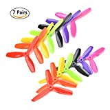 7 Pairs 3-Blade 5045 Propeller CW CCW 5x4.5x3 5 Inch for Quadcopters Multicopters Drones FPV Racer 7 Colors