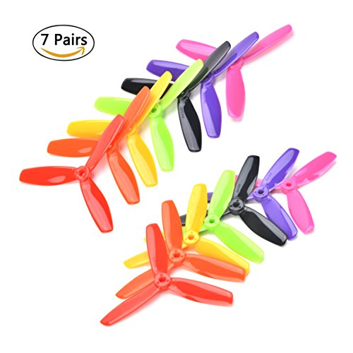 7 Pairs 3-Blade 5045 Propeller CW CCW 5x4.5x3 5 Inch for Quadcopters Multicopters Drones FPV Racer 7 Colors by NOVMOTOR