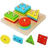 Hrph Educational Wooden Geometric Sorting Board Blocks Montessori Kids Baby Educational Toys Building Blocks