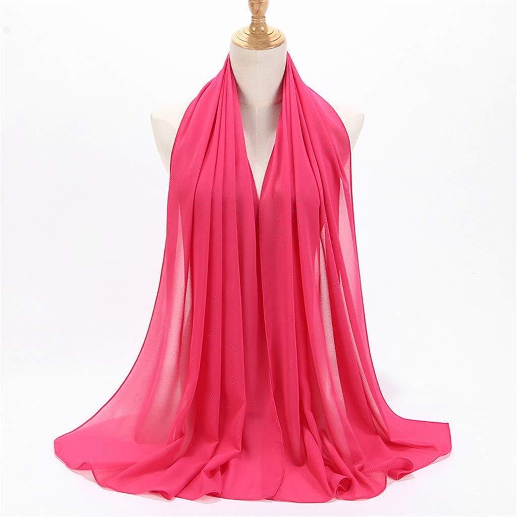 XQXCL Solid Color Bubble Chiffon Scarf Women Muslim Hijab Islamic Long Scarf Wrap Scarves