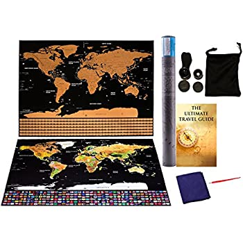 Amazon scratch off world map 24x32 interactive travel map scratch off world map with clip on camera lens for phone scratch off tool microfiber cloth and travel ebookdetailed cartographic poster glossy finish gumiabroncs Choice Image