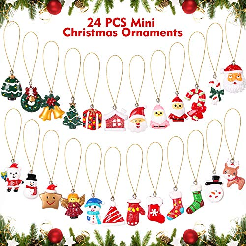 AYOGU 24 Pieces Mini Christmas Ornaments,Resin Petite Treasures Miniature Ornaments Set for Christmas Tree Decorations,Perfect for Christmas Party (A-24 PCS)