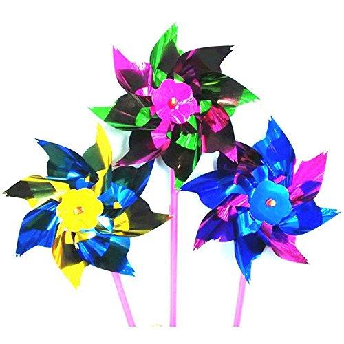 MIJORA-Toy Self-assembly Windmill Toy Pinwheel Spinner Pinwheel Plastic Thin Windmill (Rose Spray Royal)