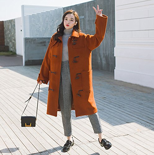 Women The Red College Winter Button Of Section Long Horn Coat Wind Jacket Cotton Of Was Thin Xuanku In Plus The The Woolen ptvnz