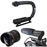 Opteka Action Filming Kit with 6.5mm Fisheye, X-Grip and Microphone for Canon EOS 70D, 60D, 60Da, 50D, 1Ds, 7D, 6D, 5D, 5DS, Rebel T6s, T6i, T5i, T4i, T3i, T2i and SL1 Digital SLR Cameras