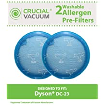 2 Dyson DC23 Long Life Washable & Reusable Pre-Filters, Compare to Part # 913394-01, Designed & Engineered by Crucial Vacuum