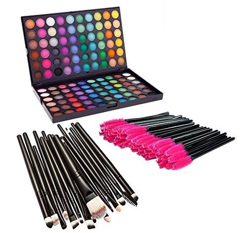 Youngman Makeup Combo 120 Colors Palette + 20 Pcs Makeup Brushes + 50 Pcs Eyelash Brushes Disposable Mascara Wands