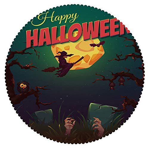 iPrint Personalized Round Tablecloth [ Halloween,Happy Halloween Poster Design Witch on Broom Mushroom Dead Resurgence Vintage Decorative,Multicolor ] Fabric Home Decor Set