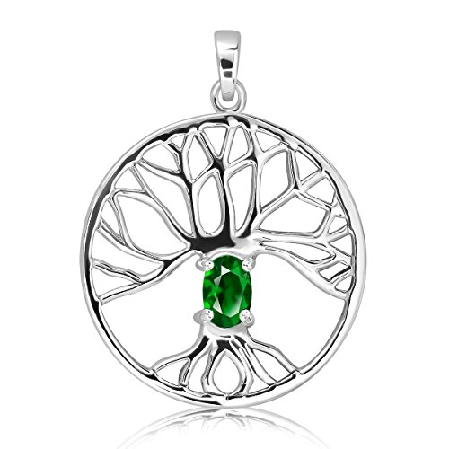925 Sterling Silver Celtic Tree of Life Oval Natural Gemstone & Simulated Glass Pendant (Simulated Green Glass)