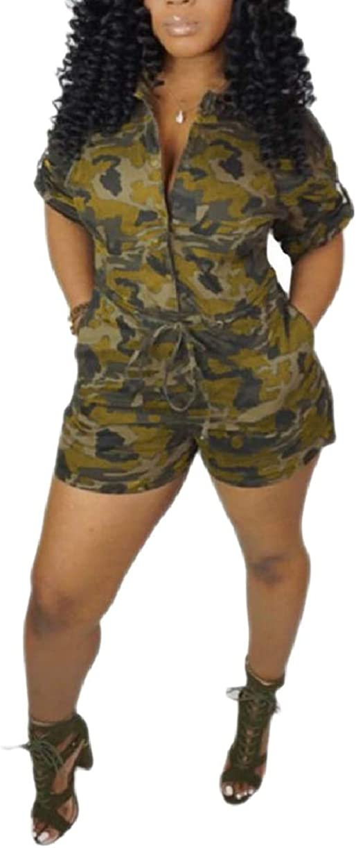 CBTLVSN Womens Short Sleeve Single Breasted Camouflage Printed Multi Pocket Shorts Romper Playsuits