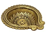 ShalinIndia Brass Metal SwastikaDiyafor Puja and Aarti Ghee Oil Wick Lamp 1.5 x 6.5 x 5.5 inches 765 Grams