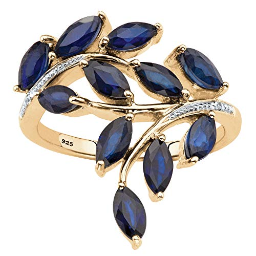Genuine Marquise-Cut Midnight Blue Sapphire Diamond Accent 18k Gold over .925 Silver Ring