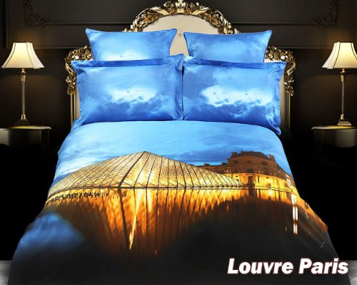 Louvre Paris, 6 PCs City Themed Bedding, King Size Egyptian Cotton Duvet Cover Set in Gift Box by Dolce Mela Fine Linens Bed in a Box, Bridal Shower, Birthday, Housewarming (Dolce Mela Fine Linens)