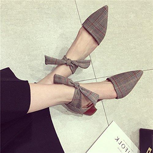 SFSYDDY the elegante farfalla nodo Lattices la versione coreana sono vuote a punta singola scarpe con tacchi sottili e spesse in primavera,…