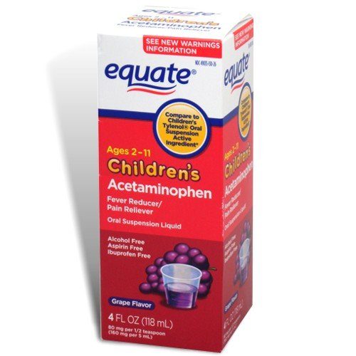 Equate Children's Acetaminophen, Pain Relief, Ages 2-11, Grape Flavor, Oral Suspension, Liquid ()
