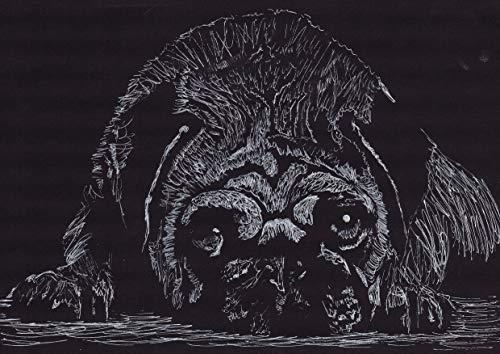 Dog Line Art - Pug Art Print, Black and White Pug Decor, Cute Pug Art Print, Pug Drawing hand Signed by Oscar Jetson, Cute Pug line drawing