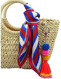 RareLove Bohemian Long Pom Pom Tassel Keychain and Blue Striped Satin Hair Silk Feeling Scarf for Straw Beach Bag