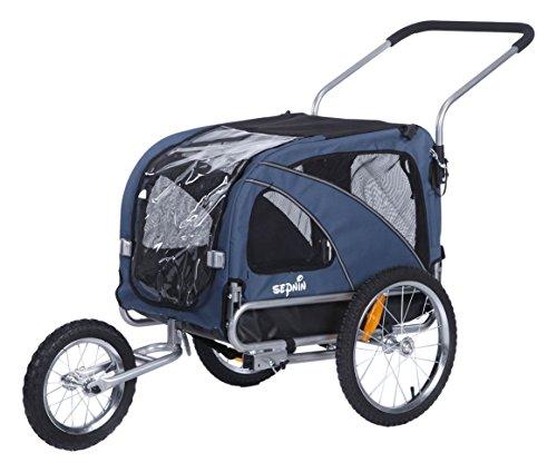 Sepnine 2 in1 medium pet dog bike trailer bicycle carrier and stroller jogger 10201 (blue) by Sepnine