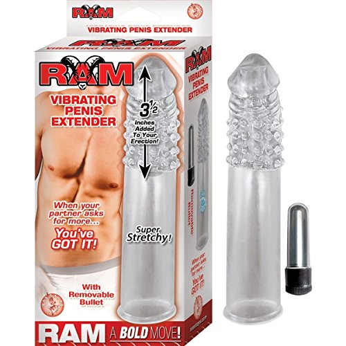 "Add3.5"" Cock Length Ram Vibrating Penis Extender Extension Sleeve Girth Enhancer"