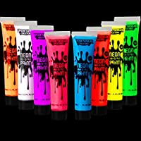 Spooktacular Creations 8 Tubes of 1 oz Black Light Face and Body Paints Non Toxic Facepaint in 8 Neon Colors for...