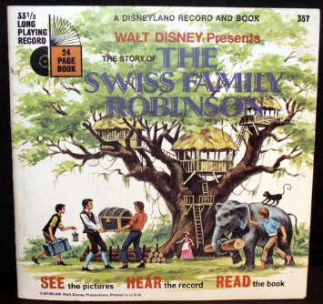 Walt Disney Presents the Story of the Swiss Family Robinson Book & 7 in 33rpm Record