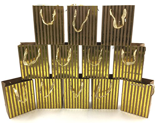 Style Design (TM) Dozen Gift Bags - 12 Beautiful Large Kraft Gift Bags for Presents, Parties or Any Occasion With Hot Stamp (Large, Gold Stripes)