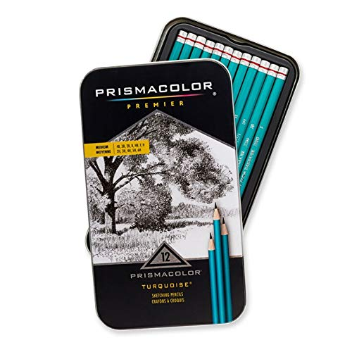 Prismacolor 24192 Premier Turquoise Graphite Sketching Pencils, Medium