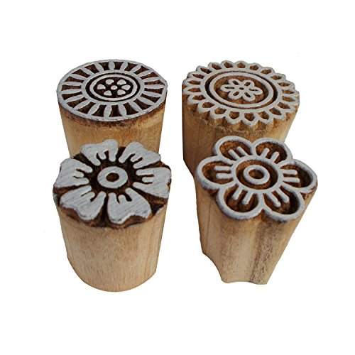 Bunch of 4 Floral Motif Printing Blocks Wooden Stamps Textile Clay Pottery Craft Scrapbook Print Henna Tattoo Block Stamp by CraftyArt