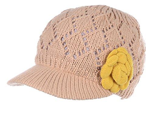 BYOS Womens Winter Warm Fleece Lined Knitted Beret Beanie Hat Cap w/Visor Peak (Diamond Pattern w/Flower Cream)