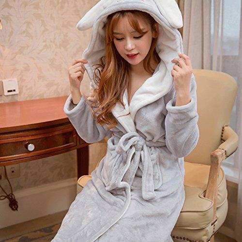 Autunno Ispessimento Lady Cartoon Accappatoio Pigiama GAOLILI Inverno lungo cappuccio B Robe Plus con Sleep dpzW1n